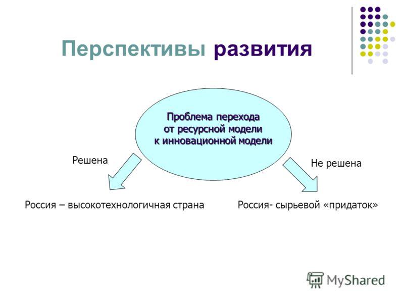 Перспективы развития Проблема перехода от ресурсной модели от ресурсной модели к инновационной модели Решена Не решена Россия – высокотехнологичная странаРоссия- сырьевой «придаток»