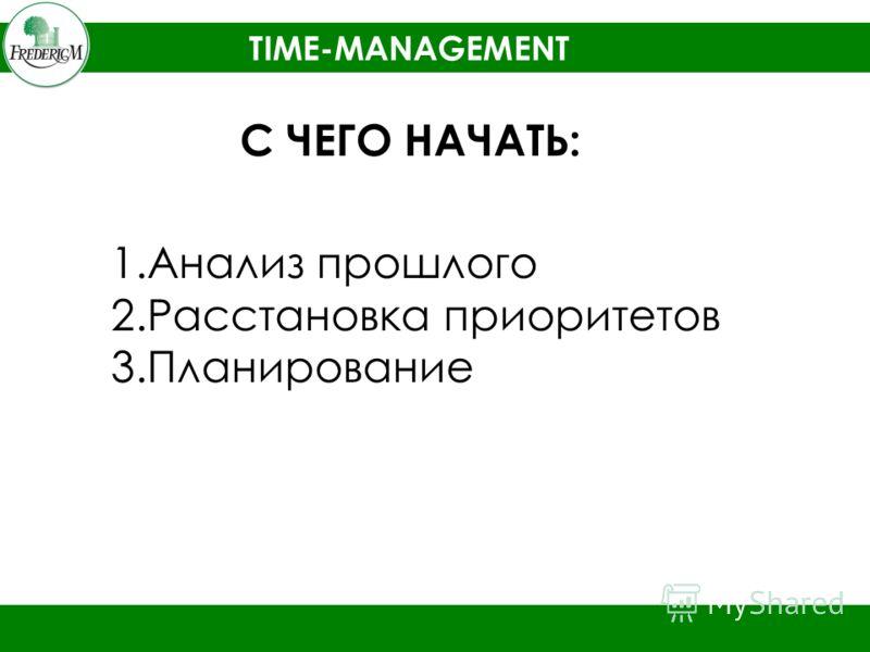TIME-MANAGEMENT С ЧЕГО НАЧАТЬ: 1.Анализ прошлого 2.Расстановка приоритетов 3.Планирование