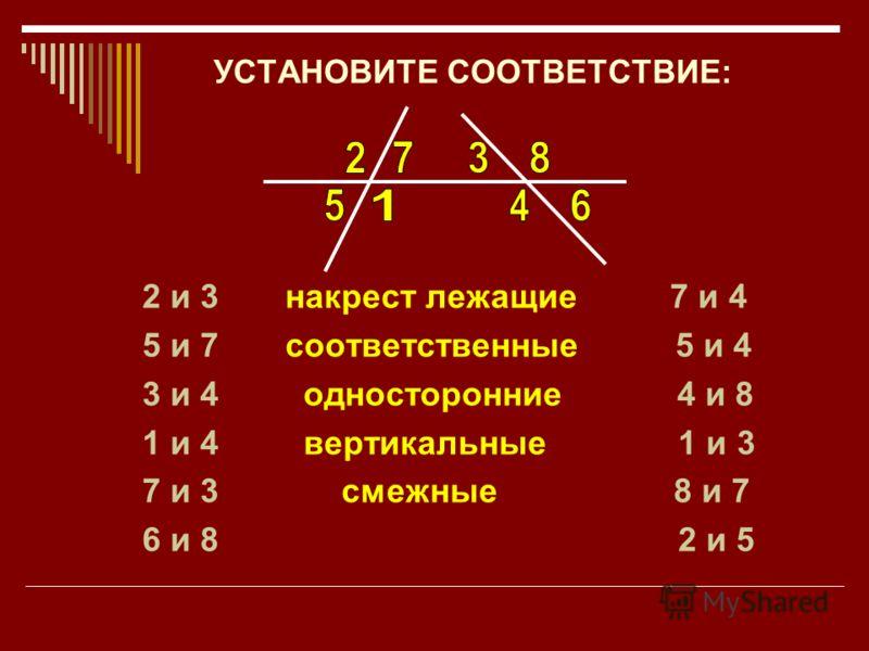 УСТАНОВИТЕ СООТВЕТСТВИЕ: 2 и 3 накрест лежащие 7 и 4 5 и 7 соответственные 5 и 4 3 и 4 односторонние 4 и 8 1 и 4 вертикальные 1 и 3 7 и 3 смежные 8 и 7 6 и 8 2 и 5