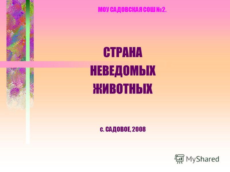 МОУ САДОВСКАЯ СОШ 2. СТРАНА НЕВЕДОМЫХ ЖИВОТНЫХ с. САДОВОЕ, 2008