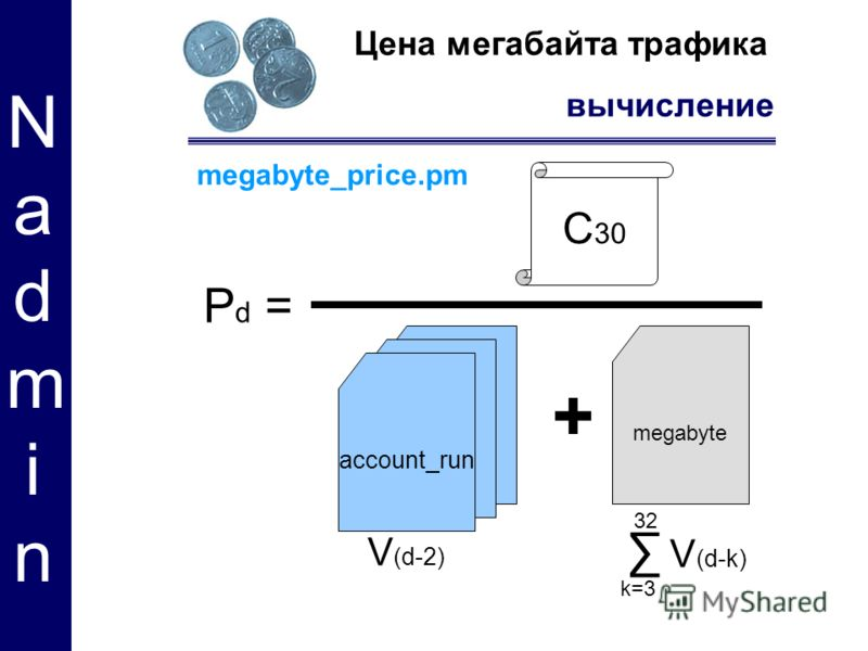 megabyte Цена мегабайта трафика вычисление Nadmin Nadmin C 30 V (d-k) V (d-2) + P d = megabyte_price.pm k=3 32 account_run