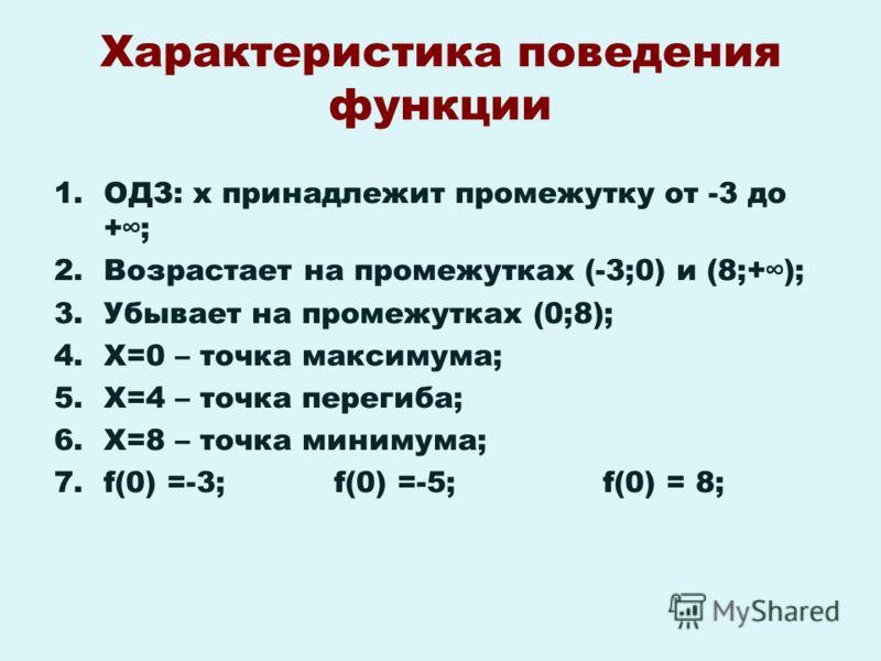 Характеристика поведения функции 1.ОДЗ: х принадлежит промежутку от -3 до +; 2.Возрастает на промежутках (-3;0) и (8;+); 3.Убывает на промежутках (0;8); 4.Х=0 – точка максимума; 5.Х=4 – точка перегиба; 6.Х=8 – точка минимума; 7.f(0) =-3; f(0) =-5; f(