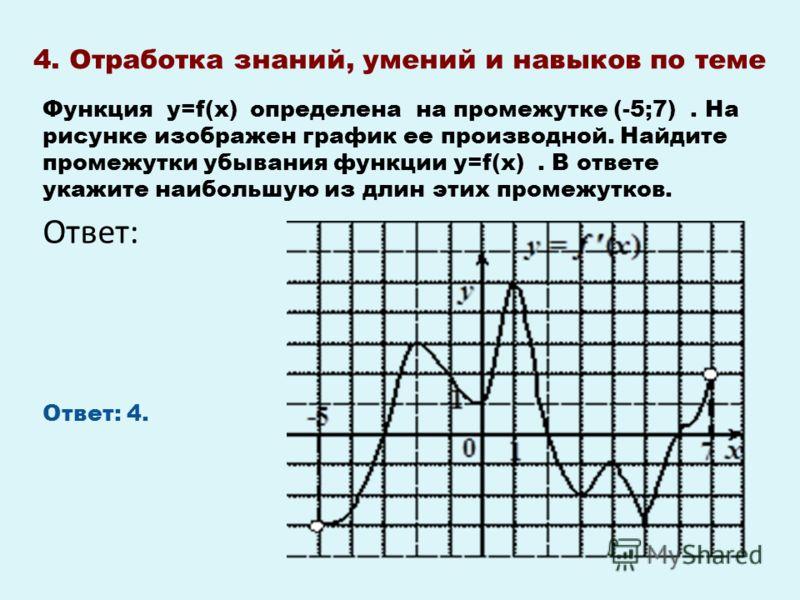 4. Отработка знаний, умений и навыков по теме Ответ: Функция у=f(х) определена на промежутке (-5;7). На рисунке изображен график ее производной. Найдите промежутки убывания функции у=f(х). В ответе укажите наибольшую из длин этих промежутков. Ответ: