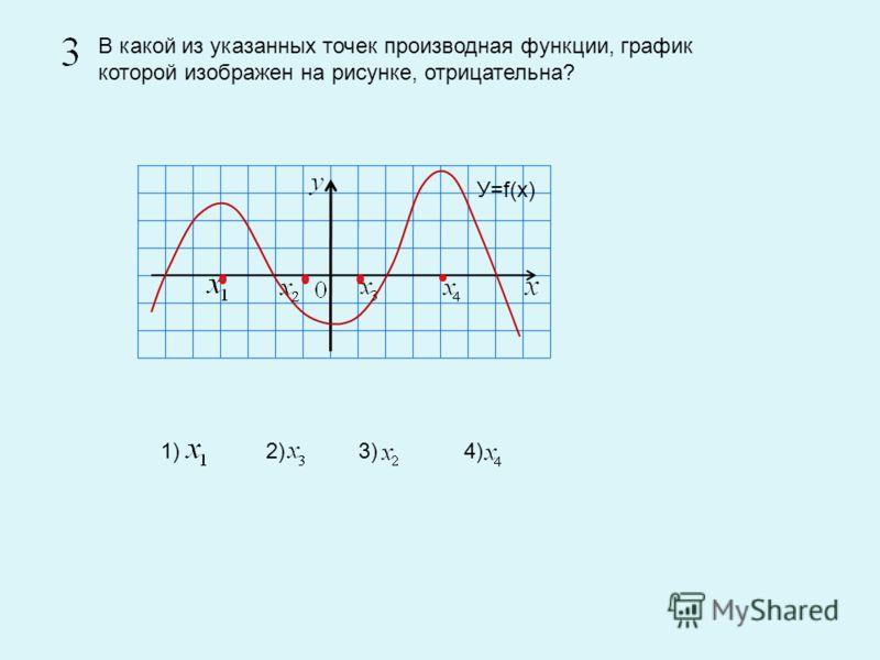 В какой из указанных точек производная функции, график которой изображен на рисунке, отрицательна? 1) 2) 3) 4) У=f(х)