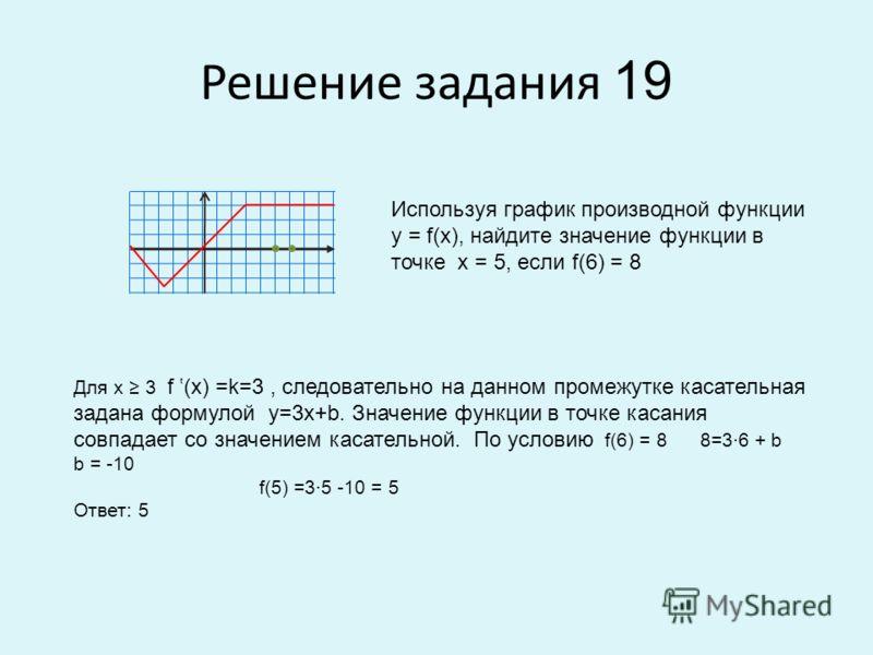 Решение задания 19 Используя график производной функции у = f(x), найдите значение функции в точке х = 5, если f(6) = 8 Для х 3 f (x) =k=3, следовательно на данном промежутке касательная задана формулой у=3х+b. Значение функции в точке касания совпад