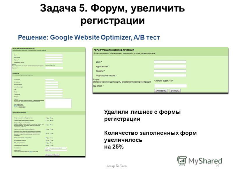 Задача 5. Форум, увеличить регистрации Решение: Google Website Optimizer, A/B тест 15Анар Бабаев Удалили лишнее с формы регистрации Количество заполненных форм увеличилось на 25%