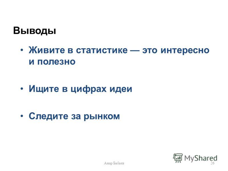 Выводы Живите в статистике это интересно и полезно Ищите в цифрах идеи Следите за рынком 26Анар Бабаев