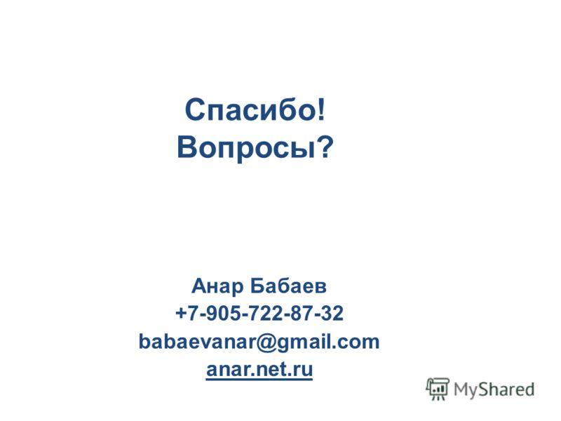 Спасибо! Вопросы? Анар Бабаев +7-905-722-87-32 babaevanar@gmail.com anar.net.ru
