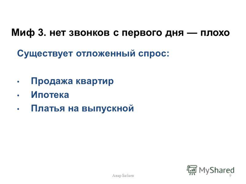 Миф 3. нет звонков с первого дня плохо Существует отложенный спрос: Продажа квартир Ипотека Платья на выпускной 9Анар Бабаев