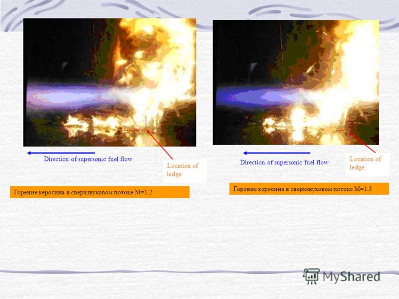 Location of ledge Direction of supersonic fuel flowLocation of ledge Direction of supersonic fuel flow Горение керосина в сверхзвуковом потоке М=1.2 Горение керосина в сверхзвуковом потоке М=1.3