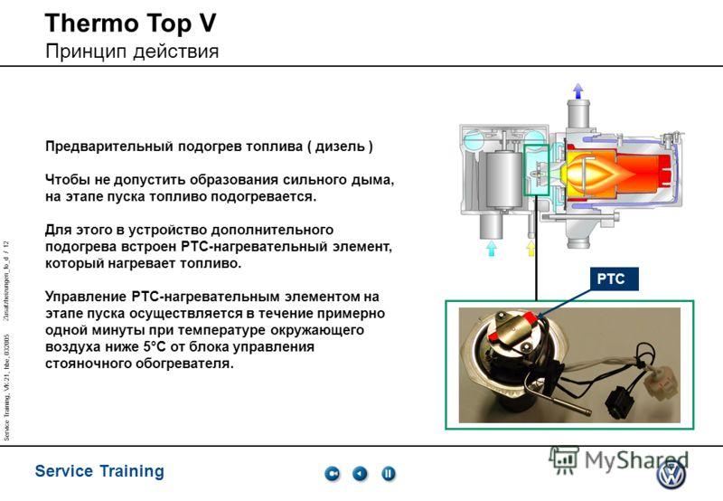 Zusatzheizungen_fo_d / 12 Service Training Service Training, VK-21, hbe, 032005 Предварительный подогрев топлива ( дизель ) Чтобы не допустить образования сильного дыма, на этапе пуска топливо подогревается. Для этого в устройство дополнительного под