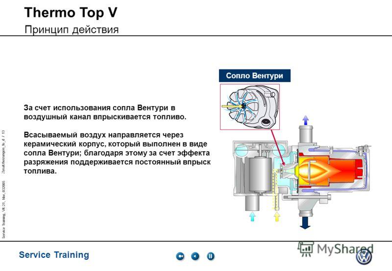 Zusatzheizungen_fo_d / 13 Service Training Service Training, VK-21, hbe, 032005 За счет использования сопла Вентури в воздушный канал впрыскивается топливо. Всасываемый воздух направляется через керамический корпус, который выполнен в виде сопла Вент