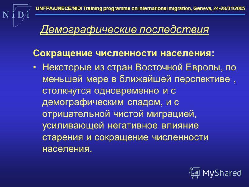 UNFPA/UNECE/NIDI Training programme on international migration, Geneva, 24-28/01/2005 Демографические последствия Сокращение численности населения: Некоторые из стран Восточной Европы, по меньшей мере в ближайшей перспективе, столкнутся одновременно