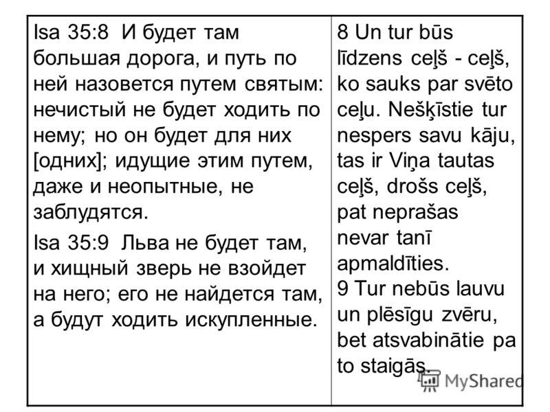 Isa 35:8 И будет там большая дорога, и путь по ней назовется путем святым: нечистый не будет ходить по нему; но он будет для них [одних]; идущие этим путем, даже и неопытные, не заблудятся. Isa 35:9 Льва не будет там, и хищный зверь не взойдет на нег