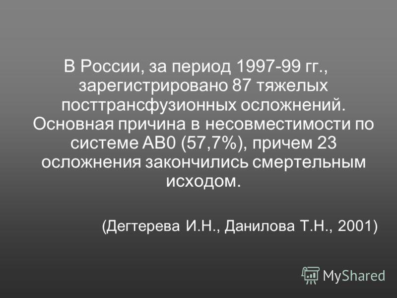 В России, за период 1997-99 гг., зарегистрировано 87 тяжелых посттрансфузионных осложнений. Основная причина в несовместимости по системе АВ0 (57,7%), причем 23 осложнения закончились смертельным исходом. (Дегтерева И.Н., Данилова Т.Н., 2001)