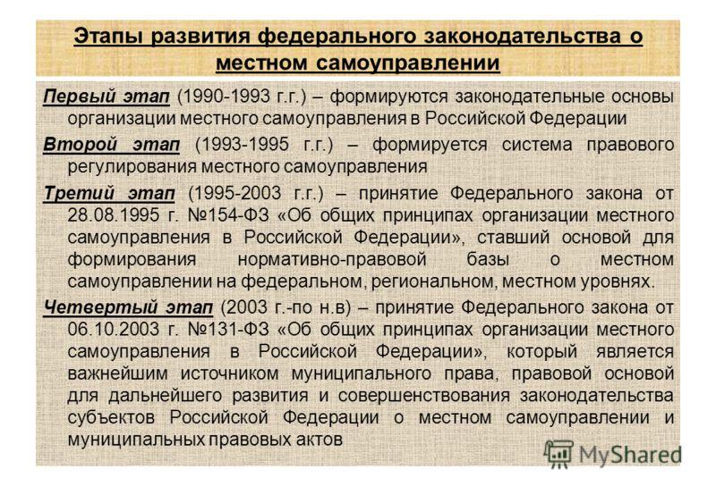 Этапы развития федерального законодательства о местном самоуправлении Первый этап (1990-1993 г.г.) – формируются законодательные основы организации местного самоуправления в Российской Федерации Второй этап (1993-1995 г.г.) – формируется система прав