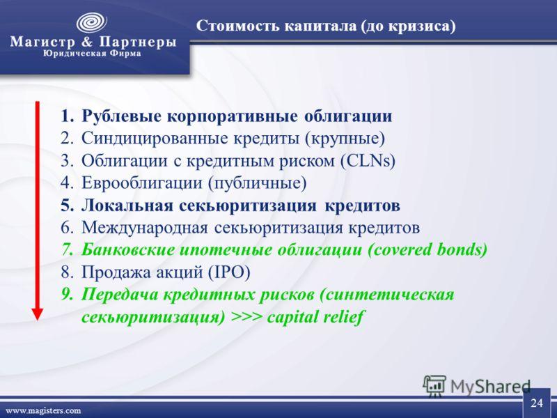 24 www.magisters.com Стоимость капитала (до кризиса) 1.Рублевые корпоративные облигации 2.Синдицированные кредиты (крупные) 3.Облигации с кредитным риском (CLNs) 4.Еврооблигации (публичные) 5.Локальная секьюритизация кредитов 6.Международная секьюрит