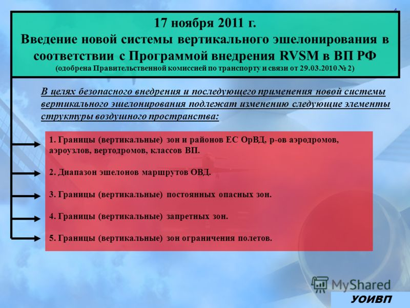 4 17 ноября 2011 г. Введение новой системы вертикального эшелонирования в соответствии с Программой внедрения RVSM в ВП РФ (одобрена Правительственной комиссией по транспорту и связи от 29.03.2010 2) В целях безопасного внедрения и последующего приме