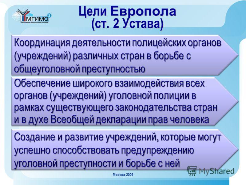Москва-2009 Цели Европола (ст. 2 Устава)