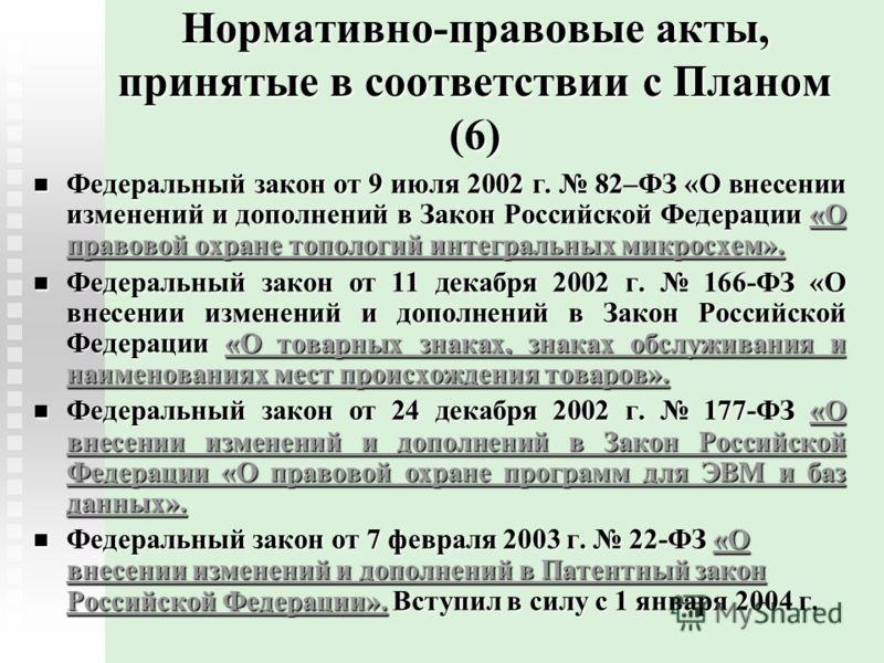 Нормативно-правовые акты, принятые в соответствии с Планом (6) Федеральный закон от 9 июля 2002 г. 82–ФЗ «О внесении изменений и дополнений в Закон Российской Федерации «О правовой охране топологий интегральных микросхем». Федеральный закон от 9 июля