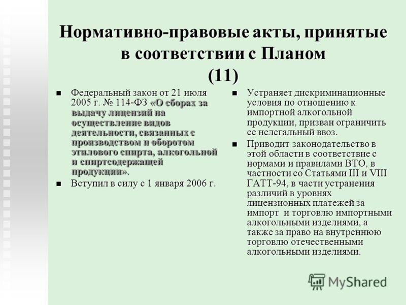Нормативно-правовые акты, принятые в соответствии с Планом (11) Федеральный закон от 21 июля 2005 г. 114-ФЗ «О сборах за выдачу лицензий на осуществление видов деятельности, связанных с производством и оборотом этилового спирта, алкогольной и спиртсо