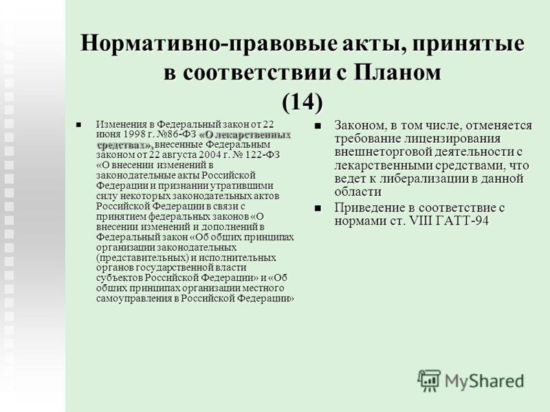 Нормативно-правовые акты, принятые в соответствии с Планом (14) Изменения в Федеральный закон от 22 июня 1998 г. 86-ФЗ «О лекарственных средствах», внесенные Федеральным законом от 22 августа 2004 г. 122-ФЗ «О внесении изменений в законодательные акт