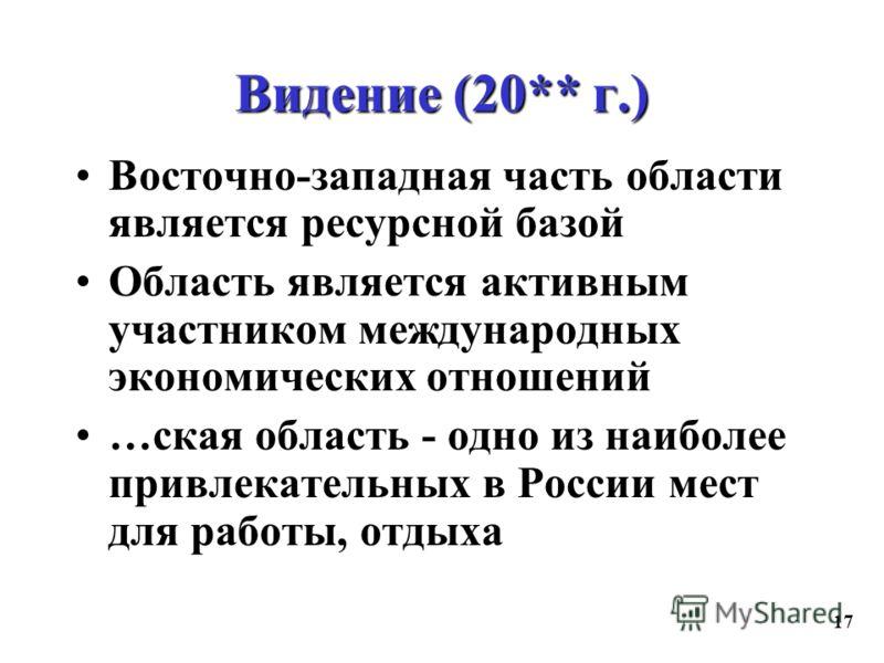17 Видение (20** г.) Восточно-западная часть области является ресурсной базой Область является активным участником международных экономических отношений …ская область - одно из наиболее привлекательных в России мест для работы, отдыха
