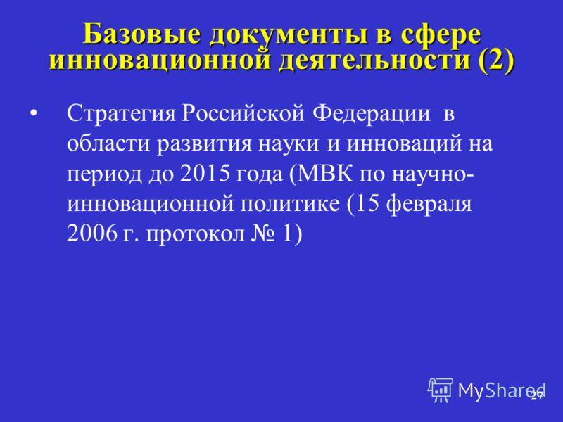 27 Базовые документы в сфере инновационной деятельности (2) Стратегия Российской Федерации в области развития науки и инноваций на период до 2015 года (МВК по научно- инновационной политике (15 февраля 2006 г. протокол 1)
