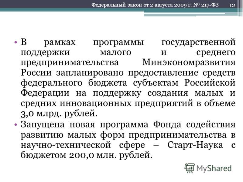 В рамках программы государственной поддержки малого и среднего предпринимательства Минэкономразвития России запланировано предоставление средств федерального бюджета субъектам Российской Федерации на поддержку создания малых и средних инновационных п