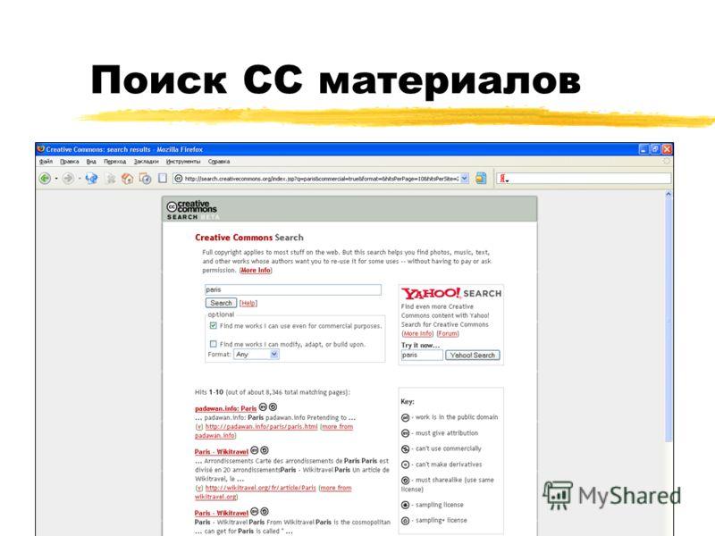 Поиск CC материалов