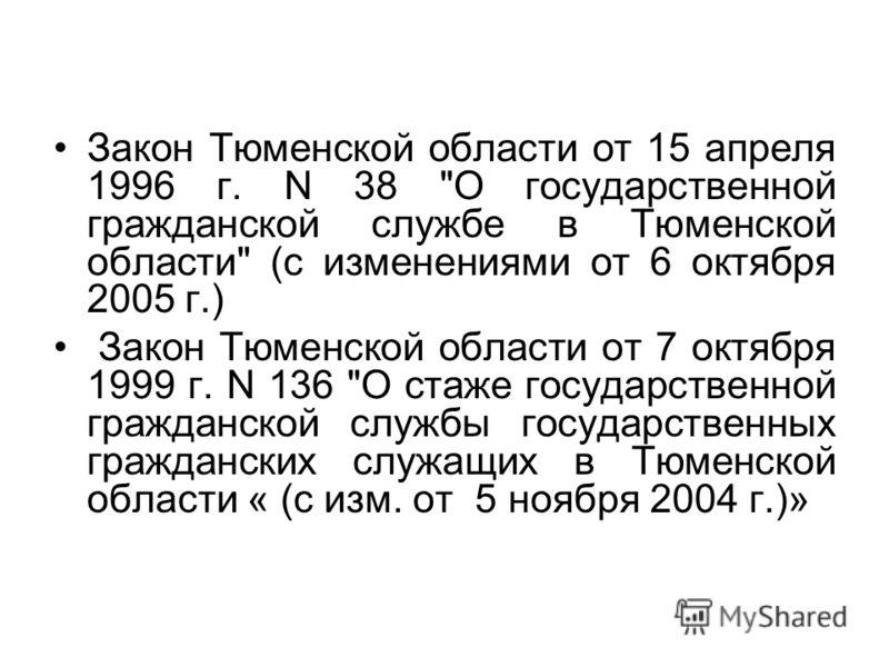 Закон Тюменской области от 15 апреля 1996 г. N 38