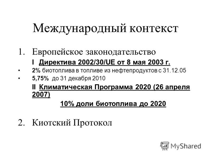 Международный контекст 1.Европейское законодательство IДиректива 2002/30/UE от 8 мая 2003 г. 2% биотоплива в топливе из нефтепродуктов с 31.12.05 5,75% до 31 декабря 2010 IIКлиматическая Программа 2020 (26 апреля 2007) 10% доли биотоплива до 2020 2.К