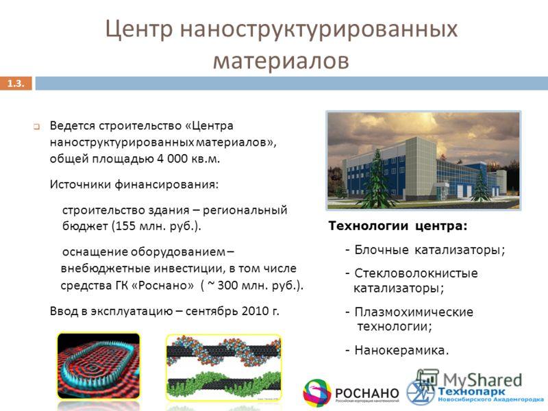 Ведется строительство «Центра наноструктурированных материалов», общей площадью 4 000 кв.м. Источники финансирования: строительство здания – региональный бюджет (155 млн. руб.). оснащение оборудованием – внебюджетные инвестиции, в том числе средства