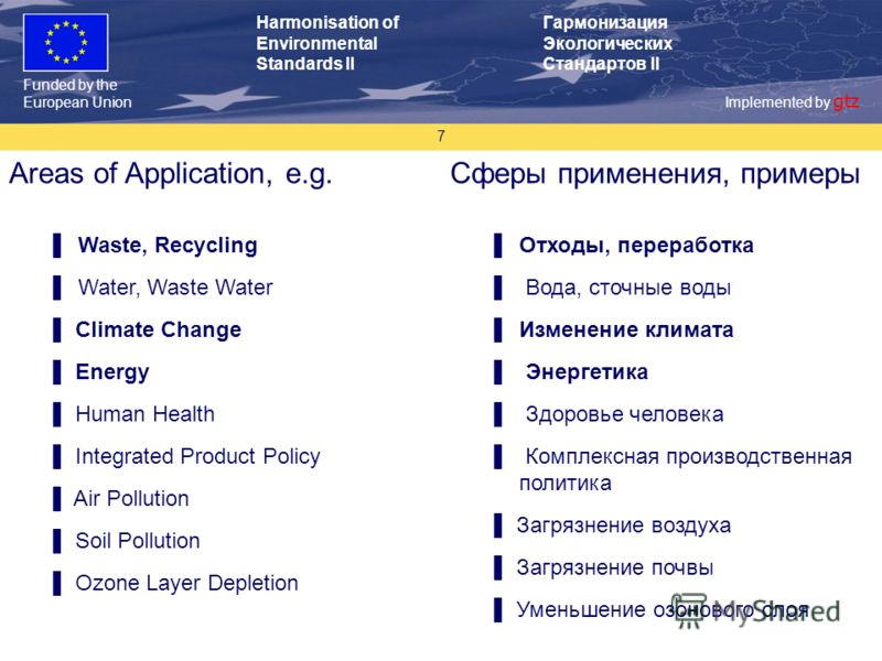 Funded by the European Union Implemented by gtz Harmonisation of Environmental Standards II Гармонизация Экологических Стандартов II 7 Areas of Application, e.g. Waste, Recycling Water, Waste Water Climate Change Energy Human Health Integrated Produc