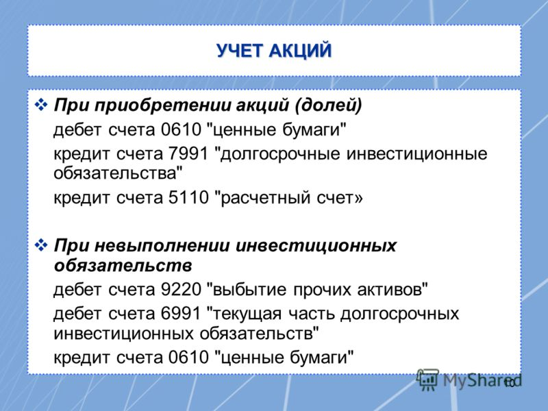 10 УЧЕТ АКЦИЙ При приобретении акций (долей) дебет счета 0610