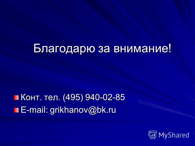Благодарю за внимание! Конт. тел. (495) 940-02-85 E-mail: grikhanov@bk.ru
