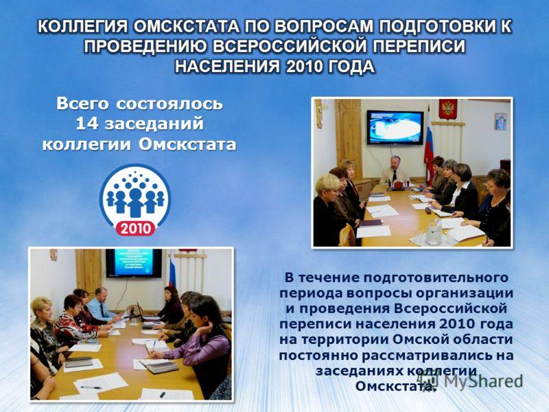 Всего состоялось 14 заседаний коллегии Омскстата В течение подготовительного периода вопросы организации и проведения Всероссийской переписи населения 2010 года на территории Омской области постоянно рассматривались на заседаниях коллегии Омскстата.