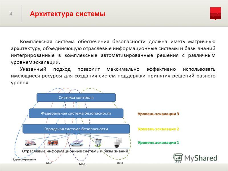 4 Архитектура системы Комплексная система обеспечения безопасности должна иметь матричную архитектуру, объединяющую отраслевые информационные системы и базы знаний интегрированные в комплексные автоматизированные решения с различным уровнем эскалации
