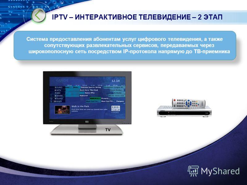 IPTV – ИНТЕРАКТИВНОЕ ТЕЛЕВИДЕНИЕ – 2 ЭТАП Cистема предоставления абонентам услуг цифрового телевидения, а также сопутствующих развлекательных сервисов, передаваемых через широкополосную сеть посредством IP-протокола напрямую до ТВ-приемника