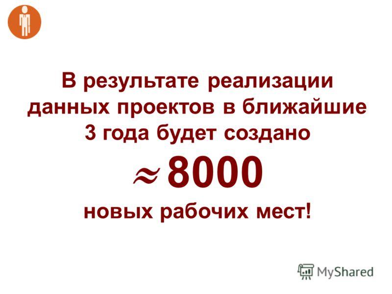 В результате реализации данных проектов в ближайшие 3 года будет создано 8000 новых рабочих мест!