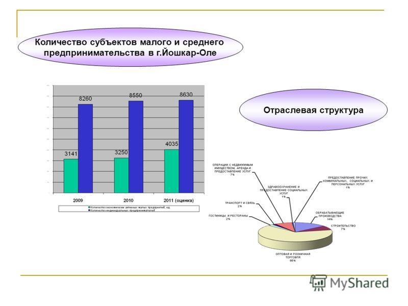 Количество субъектов малого и среднего предпринимательства в г.Йошкар-Оле Отраслевая структура
