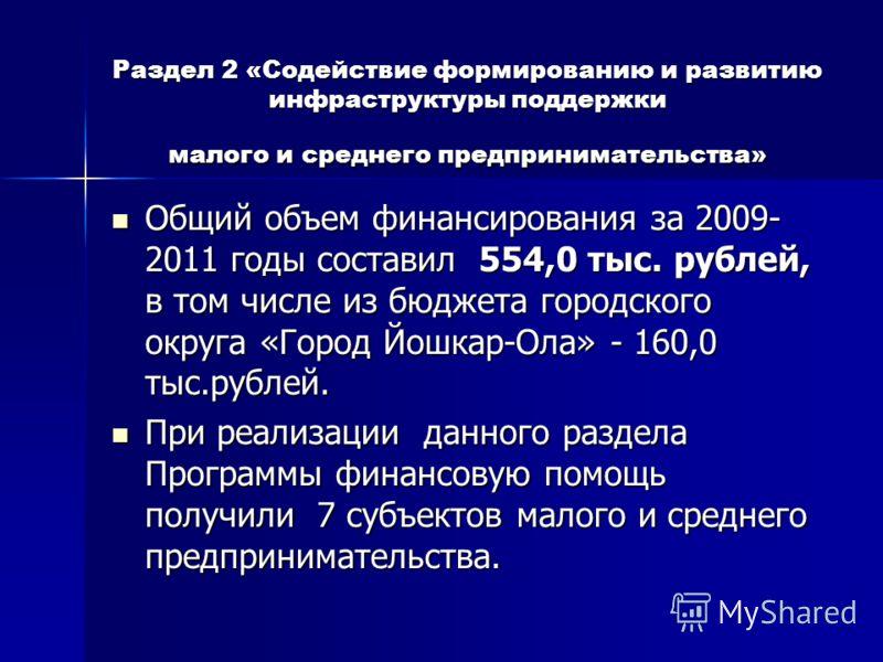 Раздел 2 «Содействие формированию и развитию инфраструктуры поддержки малого и среднего предпринимательства» Общий объем финансирования за 2009- 2011 годы составил 554,0 тыс. рублей, в том числе из бюджета городского округа «Город Йошкар-Ола» - 160,0