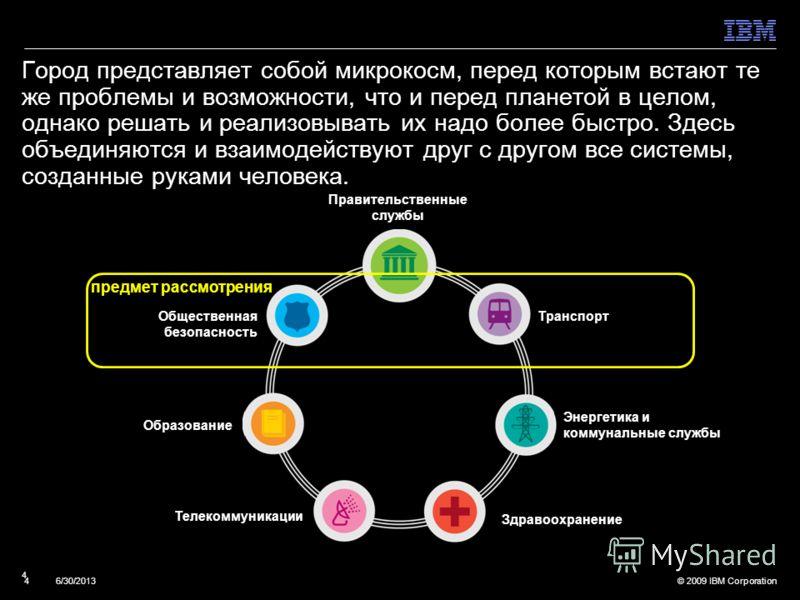 © 2009 IBM Corporation46/30/2013 4 Город представляет собой микрокосм, перед которым встают те же проблемы и возможности, что и перед планетой в целом, однако решать и реализовывать их надо более быстро. Здесь объединяются и взаимодействуют друг с др