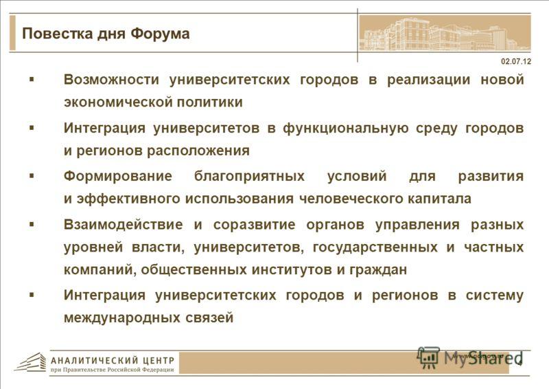 Университетские города мира 02.07.12 3 www.ac.gov.ru Воронеж Университетские города мира, в которых расположены известные университеты и которые одновременно являются крупными центрами экономического развития: Бостон (США), Монреаль (Канада), Кельн,