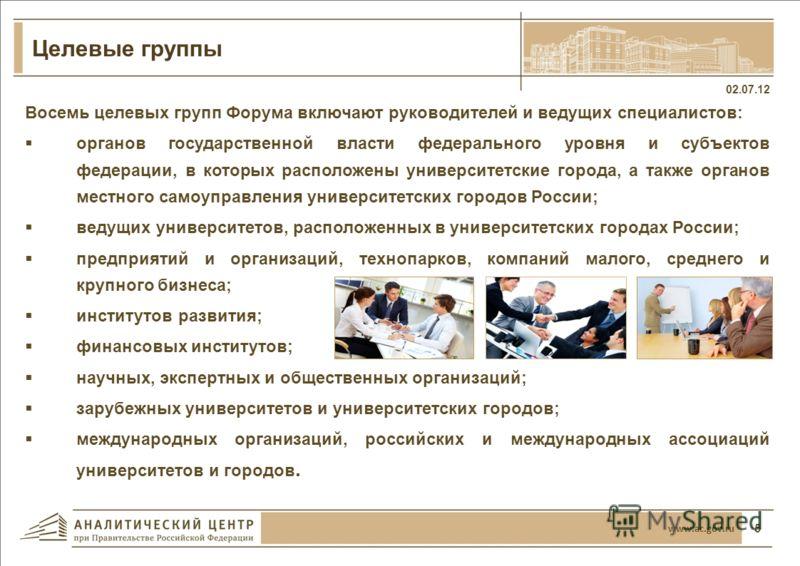 4 02.07.12 www.ac.gov.ru Повестка дня Форума Возможности университетских городов в реализации новой экономической политики Интеграция университетов в функциональную среду городов и регионов расположения Формирование благоприятных условий для развития