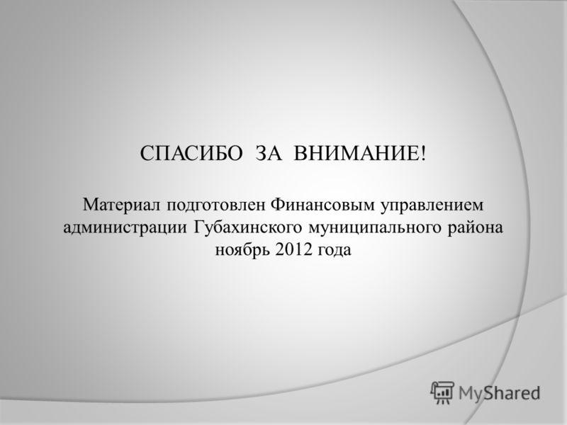 СПАСИБО ЗА ВНИМАНИЕ! Материал подготовлен Финансовым управлением администрации Губахинского муниципального района ноябрь 2012 года