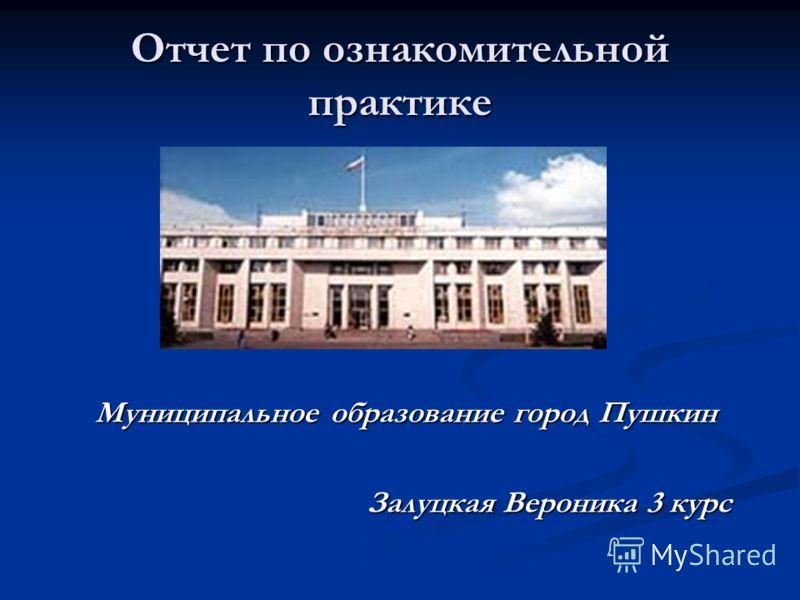 Отчет по ознакомительной практике Муниципальное образование город Пушкин Залуцкая Вероника 3 курс