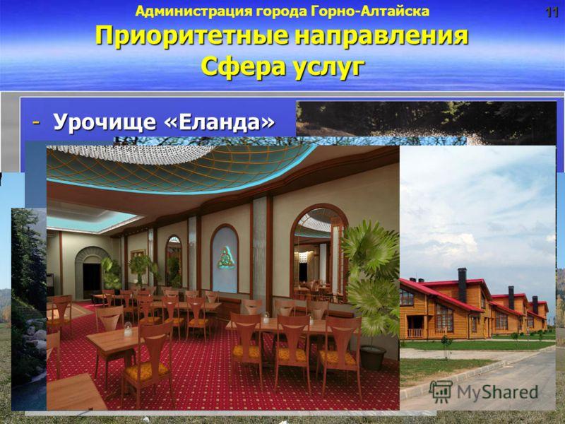 -Урочище «Еланда» Сфера услуг Приоритетные направления Администрация города Горно-Алтайска11