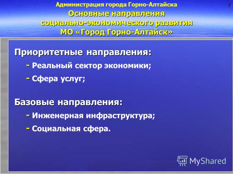 Основные направления социально-экономического развития МО «Город Горно-Алтайск» Приоритетные направления: - - Реальный сектор экономики; - - Сфера услуг; Базовые направления: - - Инженерная инфраструктура; - - Социальная сфера. Администрация города Г