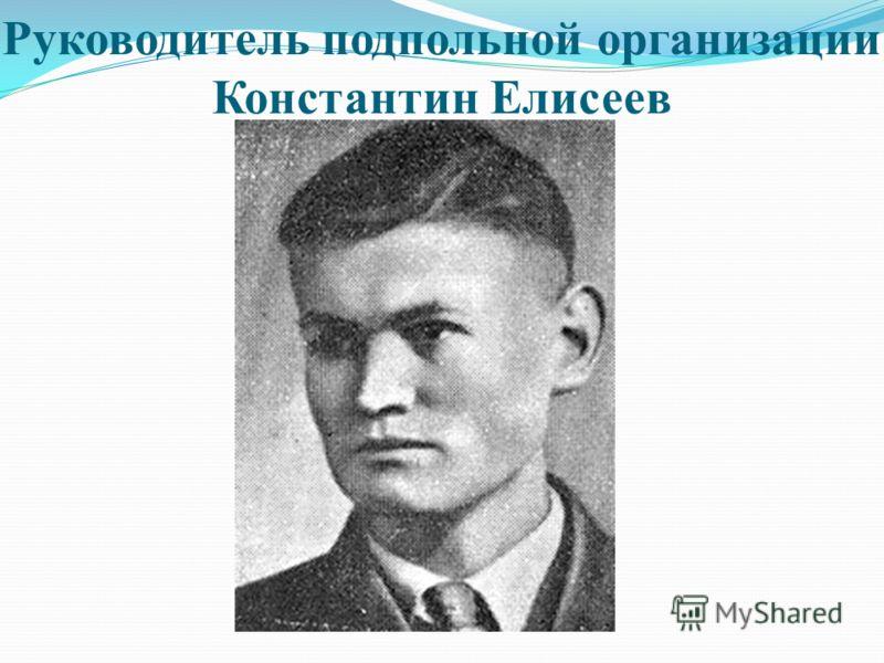 Руководитель подпольной организации Константин Елисеев